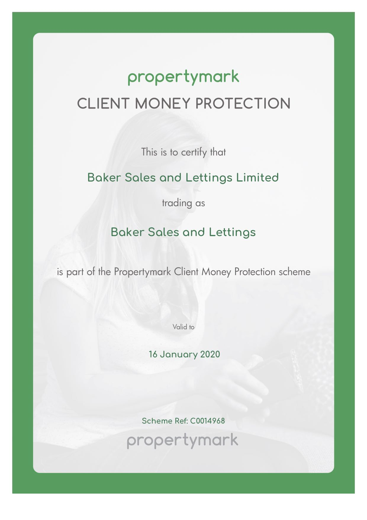 JPEG Client Money Protection Certificate Email